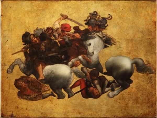 Ignoto, La lotta per lo stendardo, cosiddetta Tavola Doria, inizio XVI secolo<br />