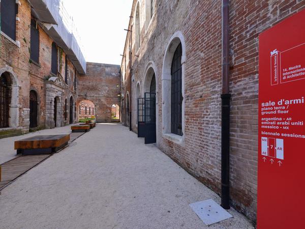 L'ingresso al Padiglione permanente degli Emirati Arabi Uniti presso le Sale D'Armi dell'Arsenale di Venezia.