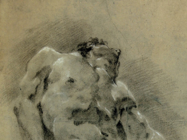 Giulia Lama,<em> Nudo virile abbandonato all'indietro</em>, Particolare, Gesso rosso e gesso bianco, 57 x 44 cm