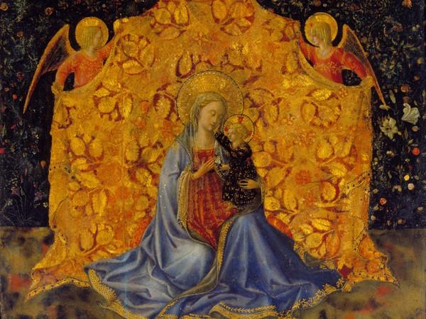 Benozzo Gozzoli (Firenze, 1420 circa - Pistoia, 1497), Madonna con il Bambino e gli Angeli, 1449-1450 circa, Tempera su pannello, 34.7 x 29.4 cm, Fondazione Accademia Carrara, Bergamo