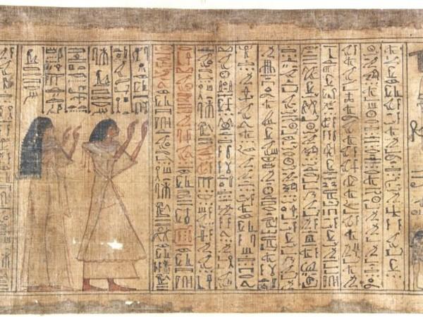 Papiro Busca, c.a. 1300 a.C., particolare, h 18,5 x 671 cm. Fondazione IRCCS Ca' Granda Ospedale Maggiore, Milano