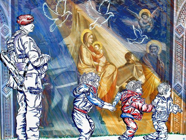 Carlo Carli, Fuga dalle persecuzioni, 2016, cm. 79x100, tecnica mista (grafica, digitale, pastello a cera) su tela