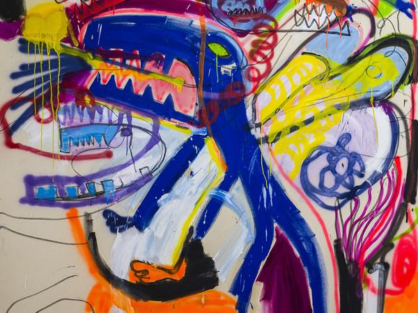 Emanuele Parmegiani, Cane drago, olio, spray e pastello, cm. 210x190