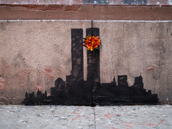 Banksy, Twin Towers Flower, New York