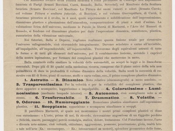 Manifesto della Ricostruzione Futurista dell'Universo, 11 marzo 1915