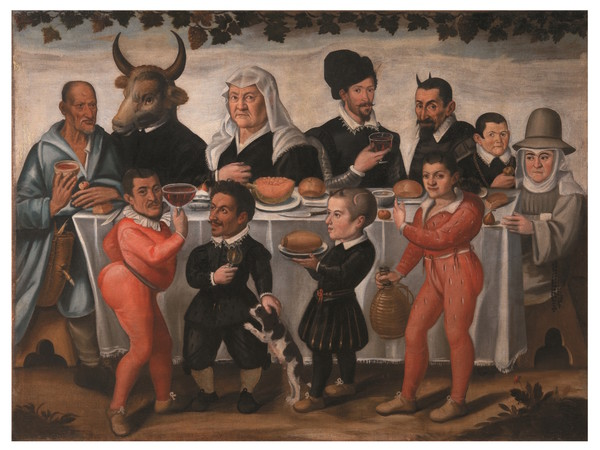 Anonimo pittore toscano del XVII secolo, Banchetto grottesco, 1630 - 1640 ca., olio su tela. Firenze, Gallerie degli Uffizi, Galleria Palatina e Appartamenti Reali, depositi