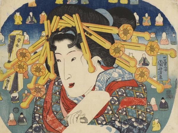 Utagawa Kuniyoshi, <em>Cortigiana</em>, Serie: <em>Le tre dure prove delle donne moderne (Tōsei sanpukutsui)</em>, 1833, Silografia policroma (nishikie), 29 x 22 cm, Masao Takashima Collection