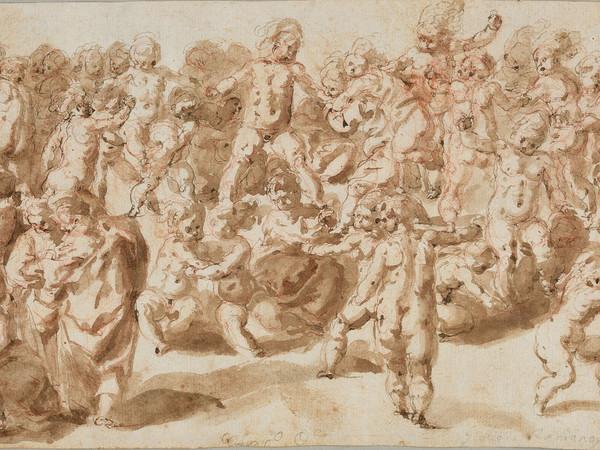 Cesare Franchi detto il Pollino, Baccanale di putti, ultimo quarto del XVI secolo, disegno a inchiostro acquerellato. Fondazione Marignoli di Montecorona, Spoleto