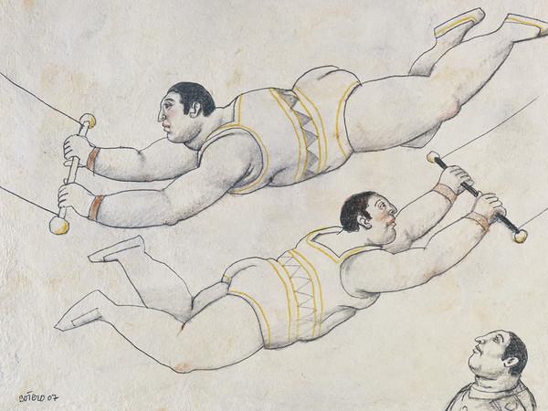 Fernando Botero, <em>Flying trapeze</em>, 2007, Matita su carta, 40 x 30 cm, Collezione privata dell'artista