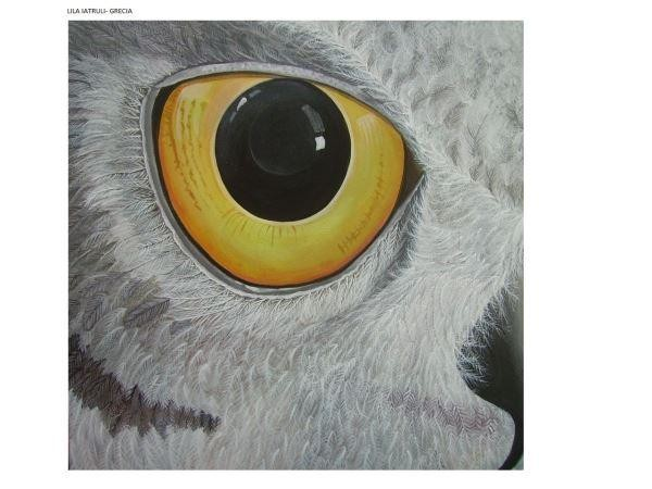 Lila Iatruli, Ματι Κουκουβαϊας, Occhio di Civetta, 2016, acrilico su tela, cm 50x50