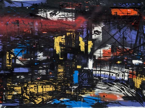 Francesco Barbieri, Future is bright, tecnica mista su tela, 70x100 cm, 2017