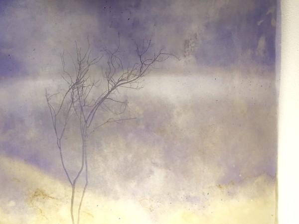 Roberto Ghezzi, Echosistema, 2019, tecnica mista su tela, 150x150 cm.