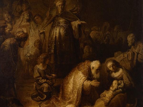 Rembrandt Harmenszoon van Rijn, Adorazione dei Magi, 1632. Olio su carta incollato su tela, 45x39 cm.