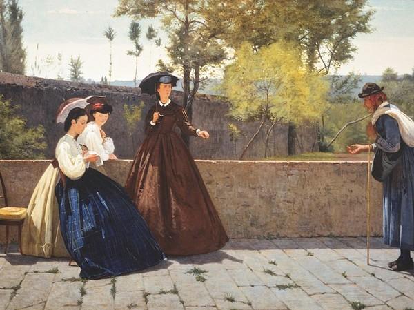 Silvestro Lega, L'elemosina, 1864. Olio su tela, cm. 71,8x124. Collezione privata