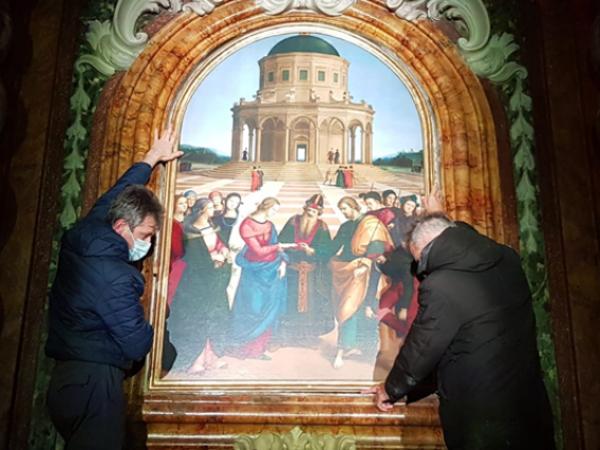 Stampa 3D dello Sposalizio della Vergine di Raffaello, Chiesa di San Francesco, Città di Castello