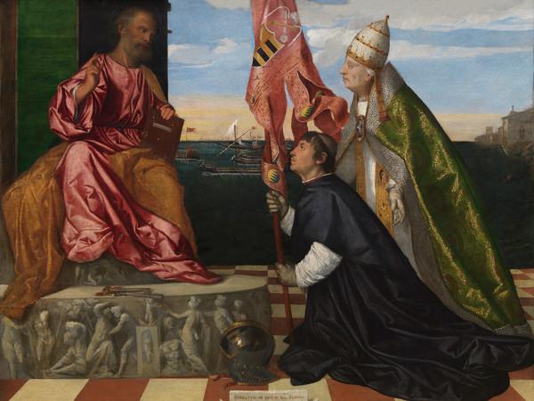Tiziano Vecellio (1488 - 1576), Jacopo Pesaro presentato a San Pietro da Papa Alessandro VI, 1511-1513 circa, Olio su tela, 188 x 147.8 cm, Royal Museum of Fine Arts Antwerp (KMSKA) | © KMSKA | www.lukasweb.be - Art in Flanders | Foto: Hugo Maertens