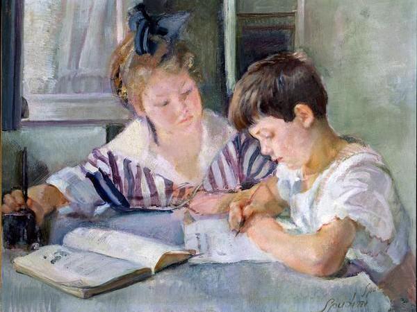 Armando Spadini, Bambini che studiano, 1918