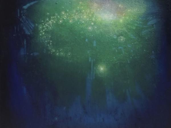 Pierdonato Taccogna, Supernova Green, olio e vernice su tela juta, 50x50 cm, 2017