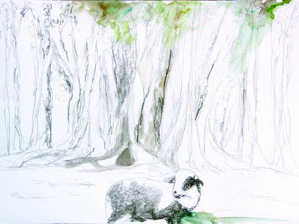 Isabella Pers, RAVE around PALERMO, Lina in Garibaldi garden, 2018. Watercolor and graphite on cotton paper, cm. 25x35