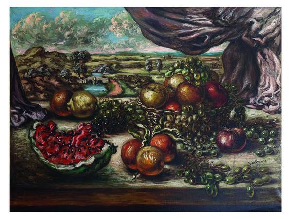 Giorgio de Chirico, Frutta con sfondo di paese, 1956. Legnano, collezione privata