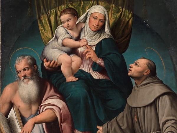 Da Ponte Jacopo Detto Bassano, Sant'Anna in trono con la Vergine bambina e i santi Girolamo e Francesco , olio su tela, cm. 147 x 103, cat 1041