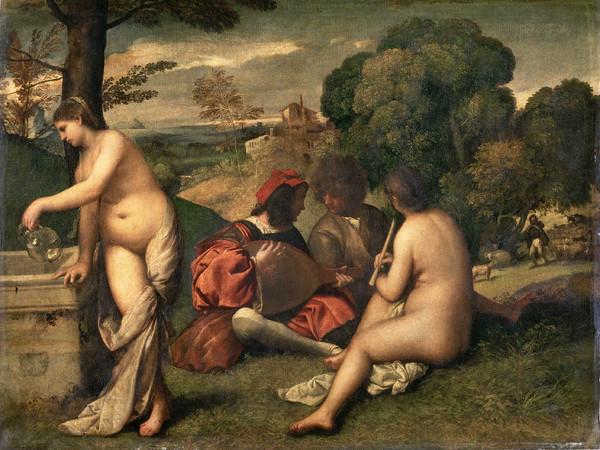 Giorgione (1478 - 1510) e/o Tiziano (1490 - 1576), Concerto campestre, Circa 1510, Olio su tela, 110 x 138 cm, Prigi, Museo del Louvre