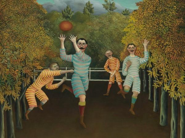 Henri Rousseau,<em>I giocatori di</em>f<em>ootball</em>, 1908 (<em>Les Joueurs de football</em>).Olio su tela, 100,3x80,3 cm.Solomon R. Guggenheim Museum, New York<br />60.1583<br />