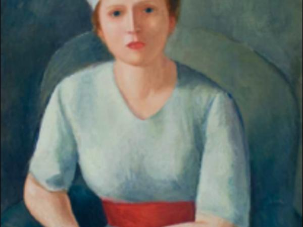 Virgilio Guidi, Donna dalla cintura rossa, olio su compensato (1929)
