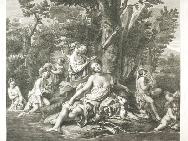 Gaspard Duchange e Dominique Sornique, La toilette di Diana, Bulino e acquaforte, sec. XVIII