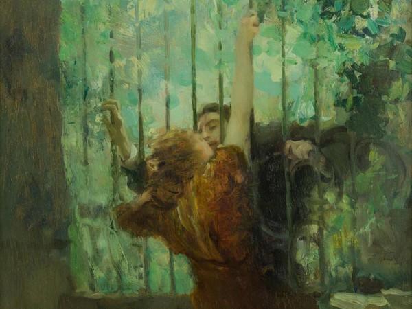 Antonio Ambrogio Alciati, <em>Il convegno</em>, 1918, Olio su tavola,&nbsp; 75 x 75 cm<br />
