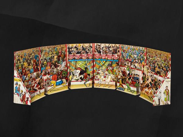 Internationaler Circus Cartotecnico: Lothar Meggendorfer Editore: J.F. Schreiber, Esslingen sul Neckar 1887. In mostra: Il più grande circo, Rizzoli, Milano 1979