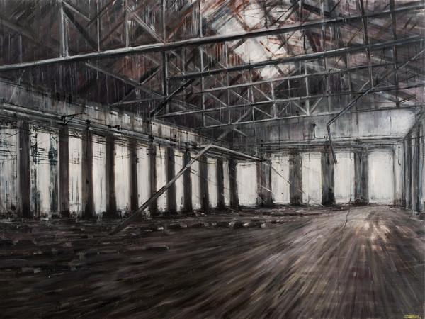 Domenico Marranchino, <em>Capannone abbandonato</em>, Sesto San Giovanni, Milano, 2017, Olio su tela, 250 X 210 cm<br />