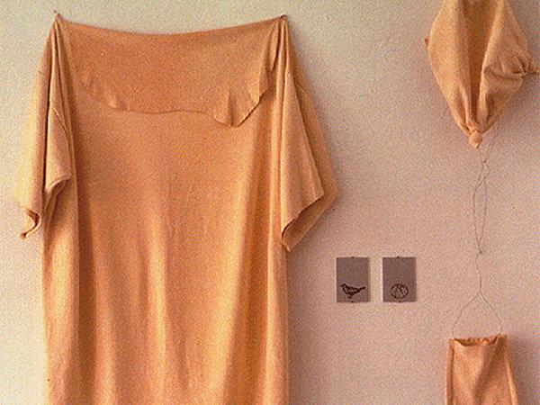 Eva Marisaldi, Divisa per dar da mangiare agli uccelli, 1994. Pelle di daino, alluminio serigrafato. Collezione privata