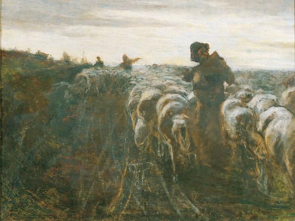 Giovanni Segantini, Il ritorno dal pascolo. Olio su tela. Collezione privata