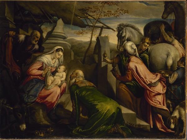 Jacopo e Francesco Bassano, <em>Adorazione dei Magi</em>, Olio su tela, 128.5 x 96 cm, Museo Statale Ermitage, San Pietroburgo
