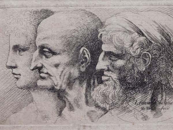 Wenceslao Hollar, <em>Tre profili virili di varie et&agrave;</em>, 1645, Lamporecchio, Fondazione Rossana &amp; Carlo Pedretti, Acquaforte, 92 x 52 mm (incisione), 94 x 53 mm (impronta), 98 x 60 mm (misure della finestra di montaggio)