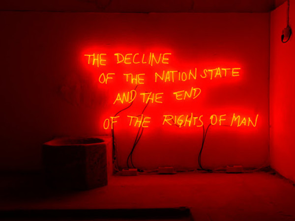 "Margherita Moscardini, The Decline of the Nation State and the End of the Rights of Man (2018). Veduta dell'installazione all'interno della mostra collettiva ""Metaphorai"", Plovdiv, Bulgaria, 2018"