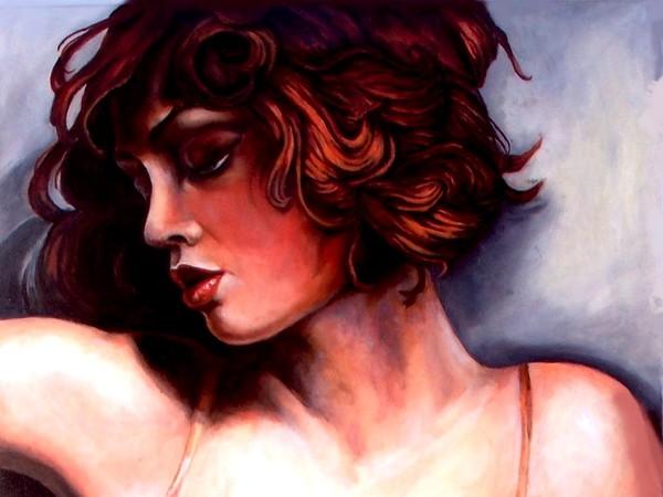 Nelly D'Urso, Rosso tiziano, olio su tela, cm. 60x50