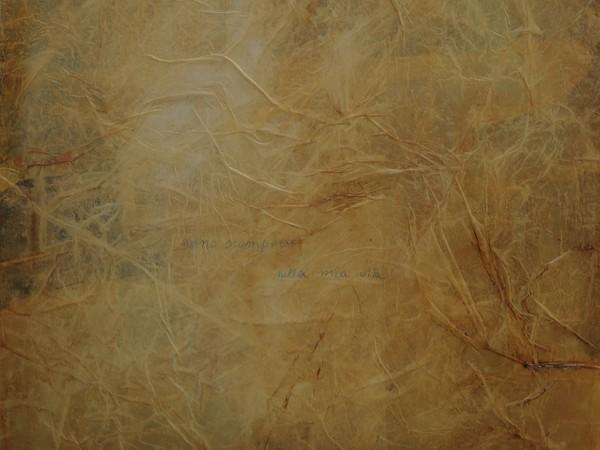 Lello Masucci, Sono scomparso alla mia vita, olio e collage su tela, cm. 40x40