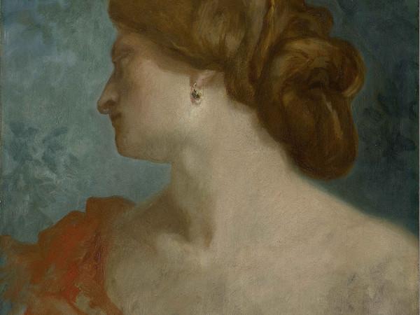 Pierre Puvis de Chavannes, Portrait de femme de profil, 1857-1860, olio su tavola
