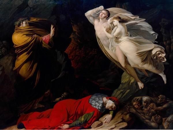Nicola Monti, <em>Francesca da Rimini nell'Inferno dantesco</em>, 1810, Olio su tela, 168 x 121 cm