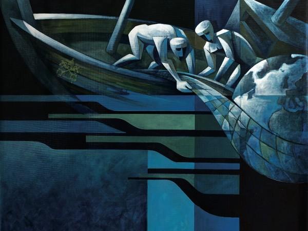 Fabio Agliardi, La cura della Casa Comune, 2019, olio su tela, 150 × 150 cm.