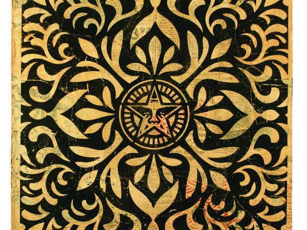 Obey, Star-Pattern-Black, tecnica mista su carta, 53x53 cm.