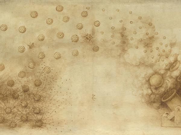 Elaborazione creativa tramite applicativo ISLe (InSight Leonardo) di Due mortai che lanciano palle esplosive da originali per concessione della Veneranda Biblioteca Ambrosiana/Mondadori Portfolio