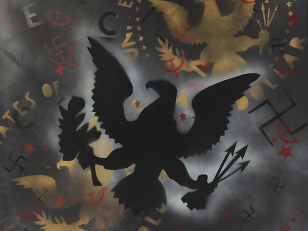 Franco Angeli, Frammenti, inizio anni '70, smalto su tela, cm. 100x100