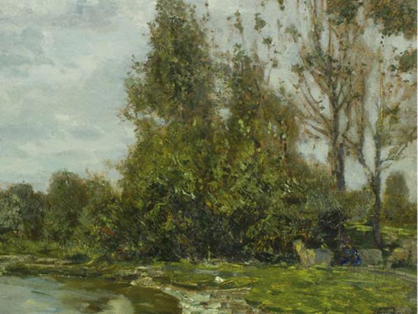 Guglielmo Ciardi, Lungo il Sile, 1880 circa. Olio su tela, 105x81 cm., Padova