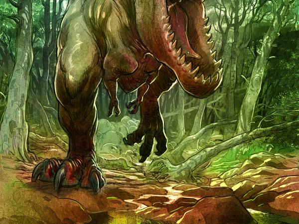 """Federico Bertolucci, Illustrazione dalla sezione """"Love art"""" del volume """"Love - I dinosauri"""", BD Edizioni"""