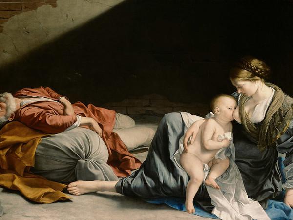 Orazio Gentileschi, Riposo durante la fuga in Egitto, olio su tela. Vienna, Kunsthistoriches Museum