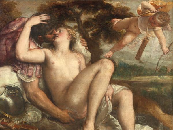 Tiziano Vecellio e bottega (Pieve di Cadore, 1488/1490 circa - Venezia, 1576), <em>Marte, Venere e Amore</em>, 1555-1560 circa, Olio su tela, 86 5 x 108 9 cm, Vienna, Kunsthistorisches Museum, Gemäldegalerie