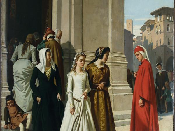 Raffaello Sorbi, Dante che incontra Beatrice, 1863, olio su tela. Collezione privata